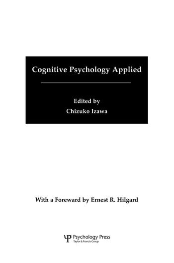 Cognitive Psychology Applied A Symposium at the 22nd International Congress of Applied Psychology book cover