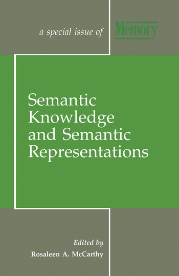 Semantic Knowledge and Semantic Representations A Special Issue of Memory book cover