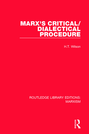 Marx's Critical/Dialectical Procedure book cover