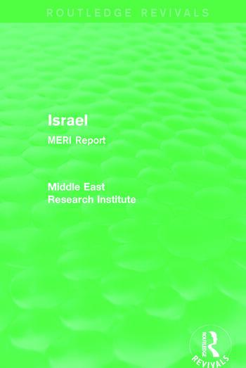 Israel (Routledge Revival) MERI Report book cover