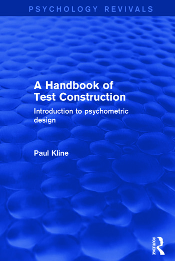 A Handbook of Test Construction Introduction to Psychometric Design book cover
