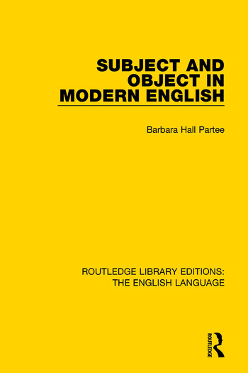 Subject and Object in Modern English book cover