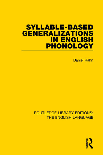Syllable-Based Generalizations in English Phonology book cover