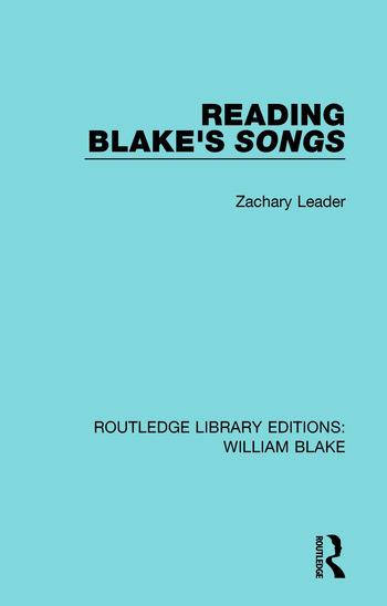 Reading Blake's Songs book cover