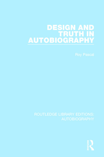 Design and Truth in Autobiography book cover