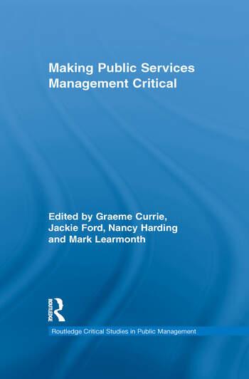 Making Public Services Management Critical book cover