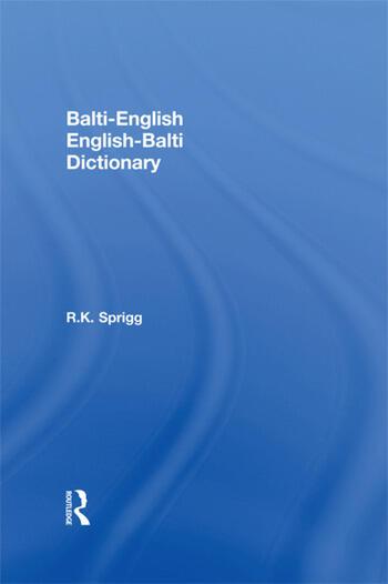 Balti-English English-Balti Dictionary book cover