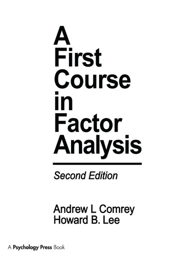 A First Course in Factor Analysis book cover