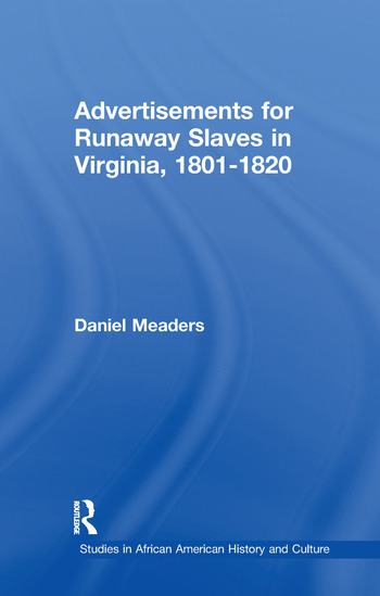 Advertisements for Runaway Slaves in Virginia, 1801-1820 book cover