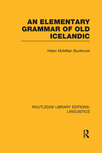 An Elementary Grammar of Old Icelandic book cover