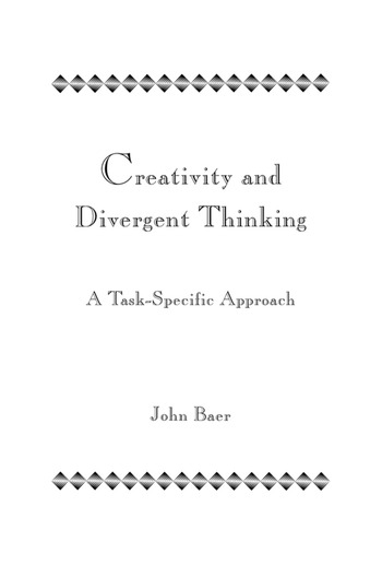 Creativity and Divergent Thinking A Task-Specific Approach book cover
