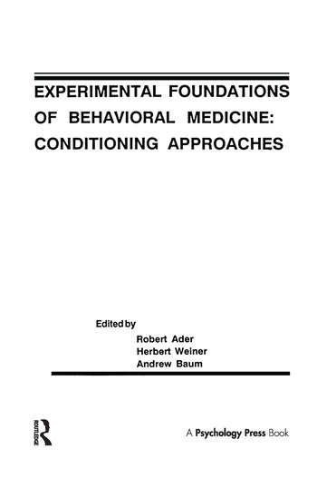 Experimental Foundations of Behavioral Medicines Conditioning Approaches book cover