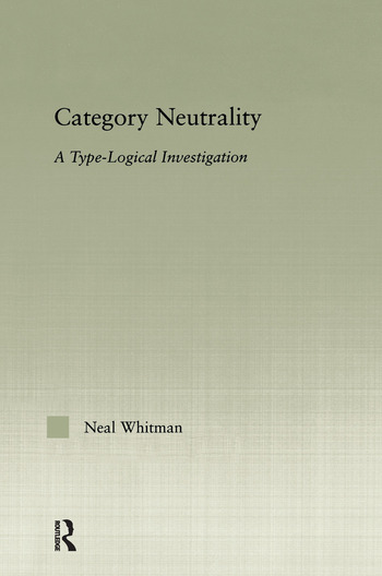 Category Neutrality A Type-Logical Investigation book cover