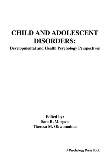 Child and Adolescent Disorders Developmental and Health Psychology Perspectives book cover