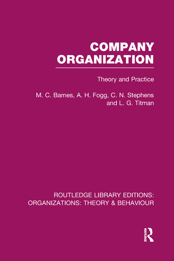 Company Organization (RLE: Organizations) Theory and Practice book cover