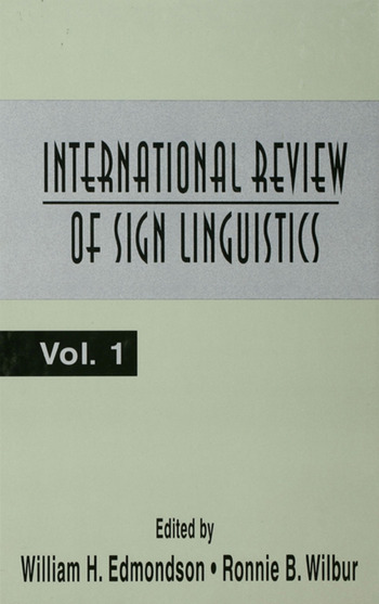 International Review of Sign Linguistics Volume 1 book cover