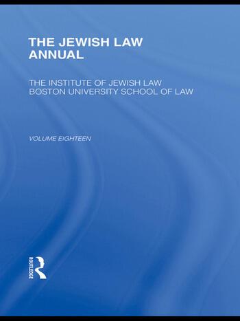 The Jewish Law Annual Volume 18 book cover