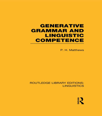 Generative Grammar and Linguistic Competence book cover