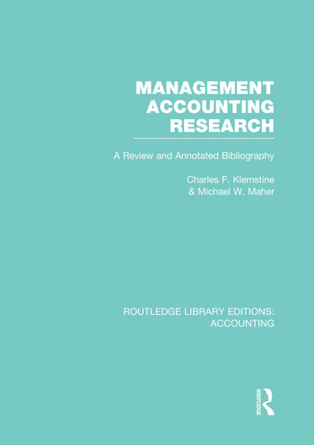 Management Accounting Research (RLE Accounting) A Review and Annotated Bibliography book cover