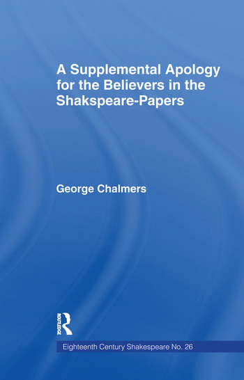 Supplemental Apology for Believers in Shakespeare Papers Volume 26 book cover