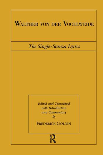 Walther von der Vogelweide The Single-Stanza Lyrics book cover