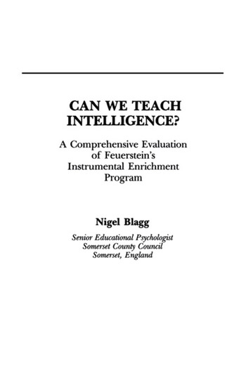 Can We Teach Intelligence? A Comprehensive Evaluation of Feuerstein's Instrumental Enrichment Programme book cover