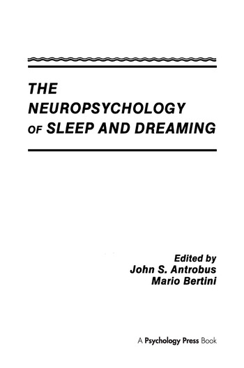 The Neuropsychology of Sleep and Dreaming book cover