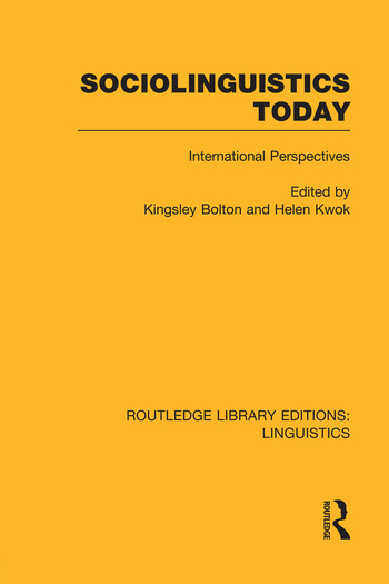 Sociolinguistics Today International Perspectives book cover