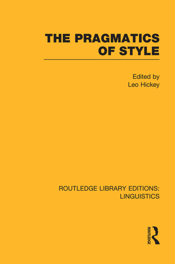 The Pragmatics of Style book cover