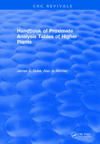 Handbook of Proximate Analysis Tables of Higher Plants book cover