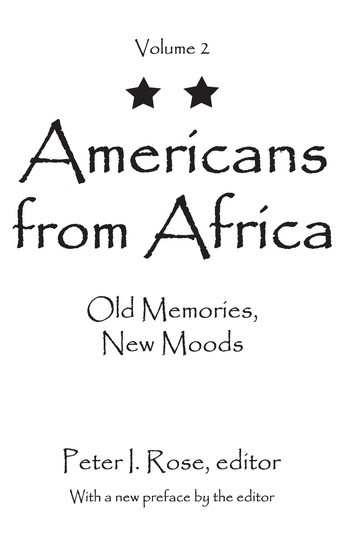 Americans from Africa Old Memories, New Moods book cover