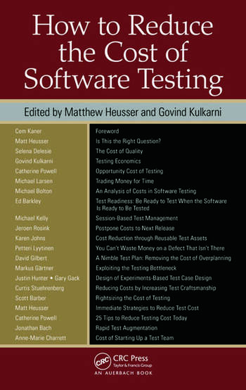 How to Reduce the Cost of Software Testing book cover