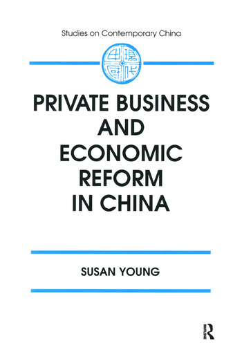 Private Business and Economic Reform in China book cover