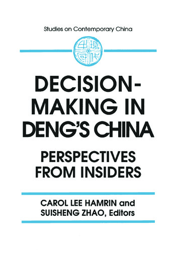 Decision-making in Deng's China: Perspectives from Insiders Perspectives from Insiders book cover