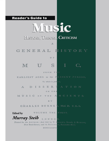 Reader's Guide to Music History, Theory and Criticism book cover