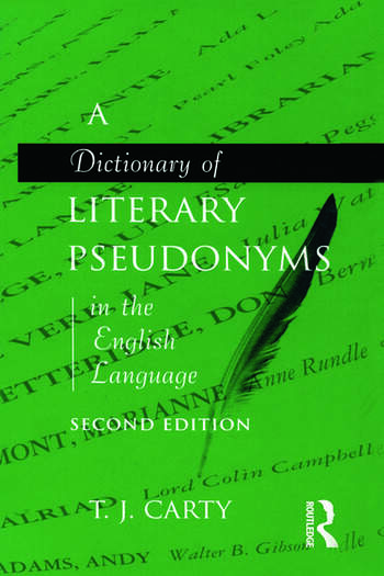 A Dictionary of Literary Pseudonyms in the English Language book cover