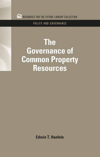The Governance of Common Property Resources book cover
