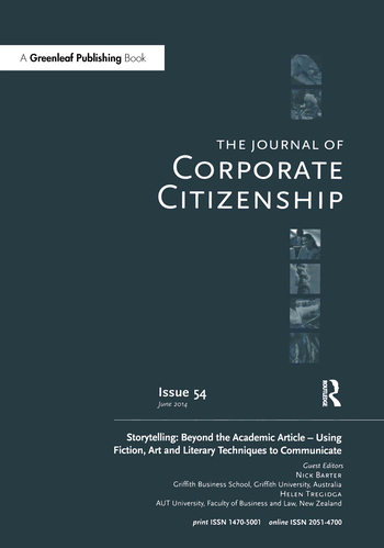 Storytelling: Beyond the Academic Article – Using Fiction, Art and Literary Techniques to Communicate A special theme issue of The Journal of Corporate Citizenship (Issue 54) book cover