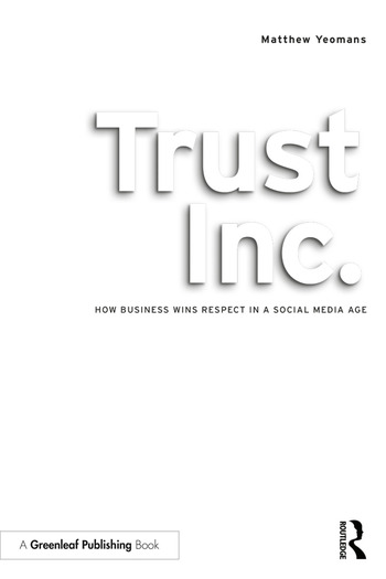 Trust Inc. How Business Wins Respect in a Social Media Age book cover