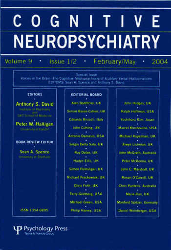 Voices in the Brain: The Cognitive Neuropsychiatry of Auditory Verbal Hallucinations A Special Issue of Cognitive Neuropsychiatry book cover