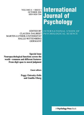 Neuropsychological Functions Across the World A Special Issue of the International Journal of Psychology book cover
