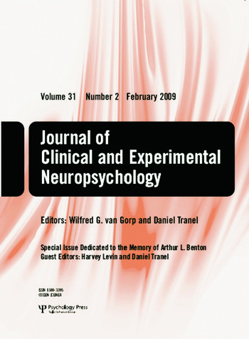 Special Issue Dedicated to the Memory of Arthur L. Benton A Special Issue of the Journal of Clinical and Experimental Neuropsychology book cover