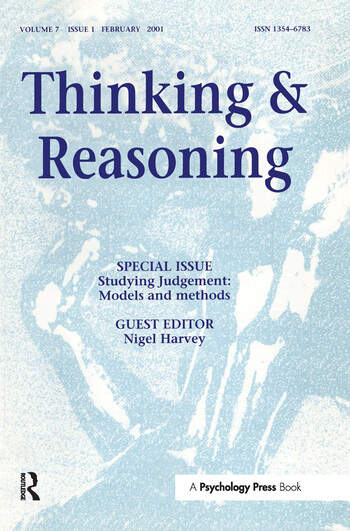 Studying Judgment: Models and Methods A Special Issue of Thinking and Reasoning book cover
