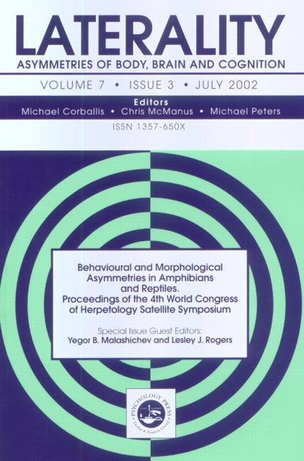 Behavioural and Morphological Asymmetries in Amphibians and Reptiles: Proceedings of the 4th World Congress of Herpetology Satellite Symposium A Special Issue of Laterality book cover
