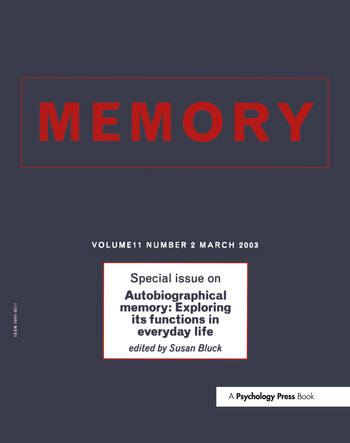 Autobiographical Memory: Exploring its Functions in Everyday Life A Special Issue of Memory book cover