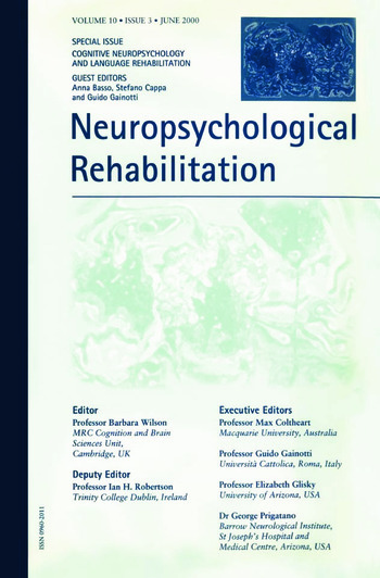 Cognitive Neuropsychology and Language Rehabilitation A Special Issue of Neuropsychological Rehabilitation book cover