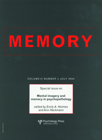 Mental Imagery and Memory in Psychopathology A Special Issue of Memory book cover