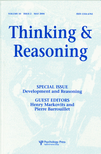Development and Reasoning A Special Issue of Thinking and Reasoning book cover