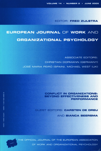 Conflict in Organizations: Beyond Effectiveness and Performance A Special Issue of the European Journal of Work and Organizational Psychology book cover