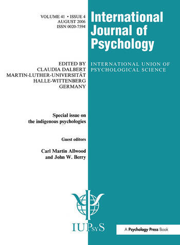Indigenous Psychologies A Special Issue of the International Journal of Psychology book cover